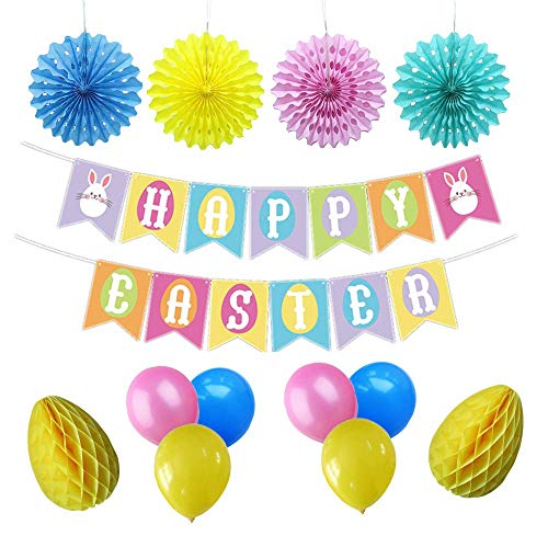 Easter Party Decorations Set | Happy Easter Bunny Banner |  Honeycomb Easter Eggs | Multi-Color Balloons | Hanging Paper Fan Decor
