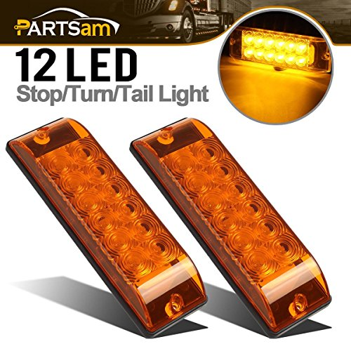 - Partsam 2Pcs 8 Inch Rectangular Rectangle Led Trailer Lights 12 LED Surface Mount Truck Trailer Turn Signal Park Parking Lights Waterproof 12V, 8