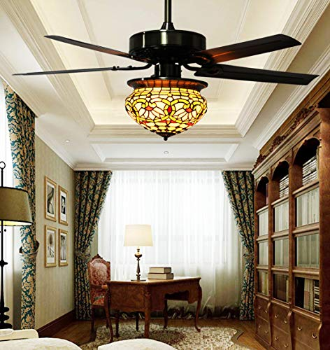Makenier Vintage Tiffany Style Stained Glass Lotus Single-light Lampshade Ceiling Fan Light Kit, with Metal Blades ()