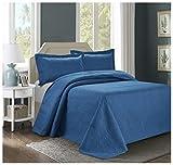3 Piece ESTANCIA Ultrasonic Embossed Bedspread Set-Oversized Coverlet 100x106in, 118x106in (Queen, Mazarine)