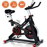 Trya Indoor Cycling Bike Stationary – Spin Bike with 35 LB Chromed Flywheel, Silent Belt Drive, Ipad Mount & Comfortable Seat Cushion for Home Workout