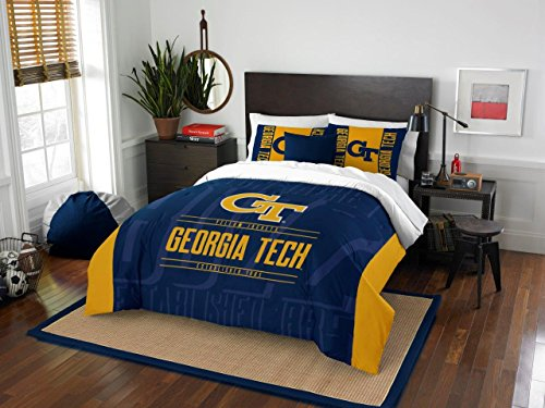 Georgia Tech YellowJackets - 3 Piece FULL / QUEEN SIZE Printed Comforter & Shams - Entire Set Includes: 1 Full / Queen Comforter (86