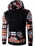 Unko Men Pocket Long Sleeve Ethnic Printing Hooded Hoodies