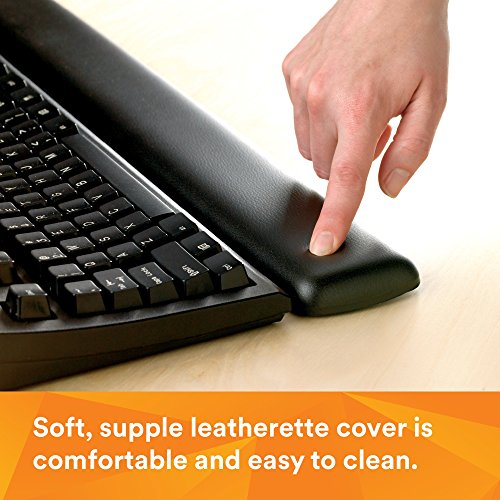 3M Gel Wrist Rest, Black Leatherette, 19 Inch Length, Antimicrobial Product Protection (WR310LE)