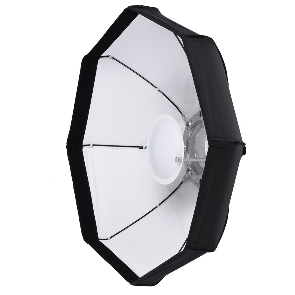 Andoer 8 Pole 80cm/31.5'' Rubber White/Black Foldable Collapsible Beauty Dish Octagon Softbox Flash Reflector Diffuser for Bowens Mount Studio Photography Strobe Light