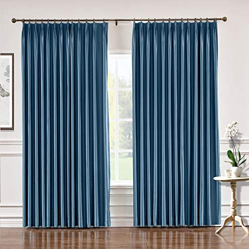 TWOPAGES Pinch Pleat Faux Silk Blackout Curtains Drapery for Living Room, Bedroom