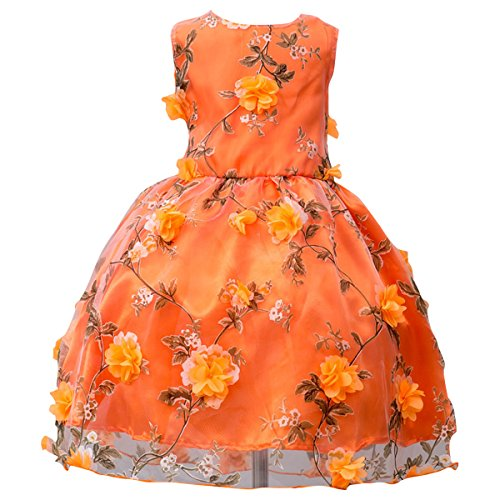 Children Girl Summer Sleeveless 3D Flowers Tulle Dress Formal Events Banquet Christmas Holiday Gala Party  School Sweetheart Ball Orange, 6-7 Years