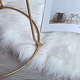 HLZHOU Soft White Faux Fur Rug Fluffy Non-Slip