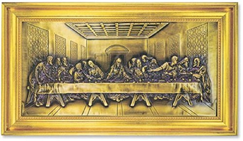 CB Gift Gerffert Bronze Relief Plaque in Gold Leaf Frame, The Last Supper,
