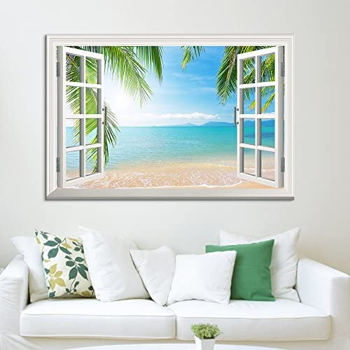 Window View Tropical Landscape with Beach and Palm Trees