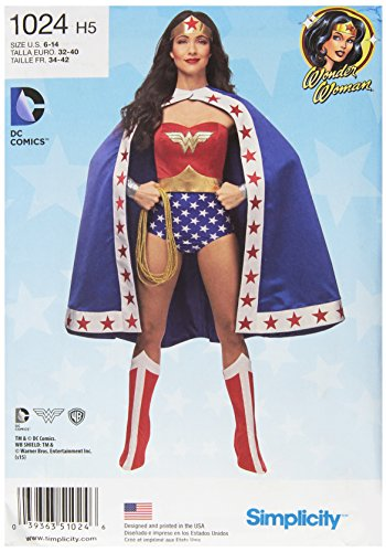 Simplicity Classic Women's Wonder Woman Cosplay and Halloween Costume, Sizes 6-14 -