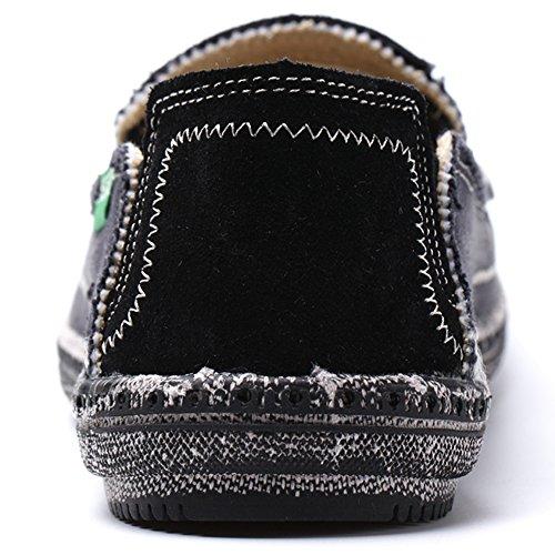 Vilocy Uomo Casuale Denim Stoffa Scivolare Sopra Scarpe Retro Tela Barca Guida Piatto Mocassini Sneaker Nero,45