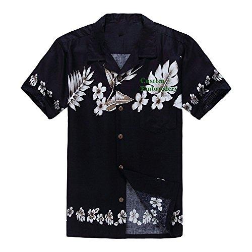 3512159bb62 Palm Wave Men s Hawaiian Custom Emboridery Shirt Aloha Shirt Luau Shirt XL  Navy Floral Cross