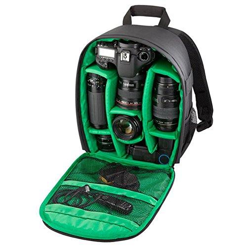INDEPMAN Camera Bag Backpack Shockproof Waterproof Digital Camera Case for SLR DSLR Camera ,Lenses and Accessories (Black with green)