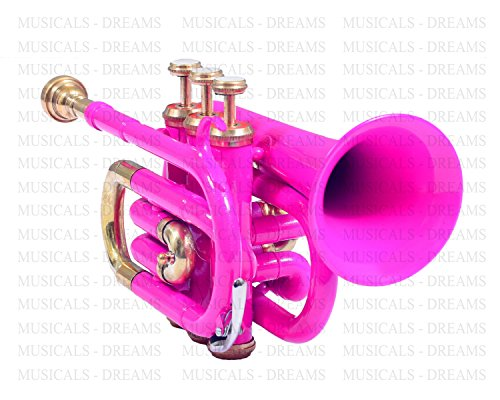 POCKET TRUMPET Bb PITCH PINK WITH FREE HARD CASE AND MP by NASIR ALI