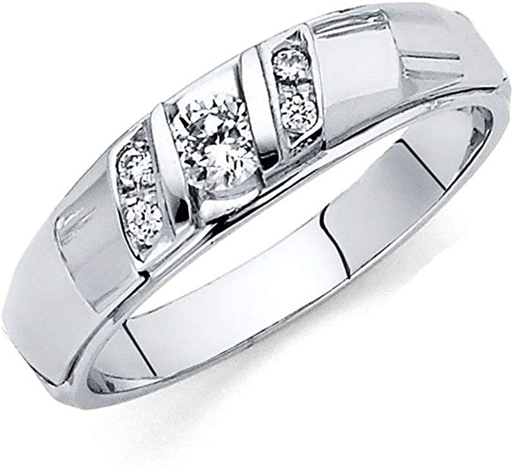 This is an image of 44ct White Gold CZ Cubic Zirconia Simulated Diamond Wedding Band
