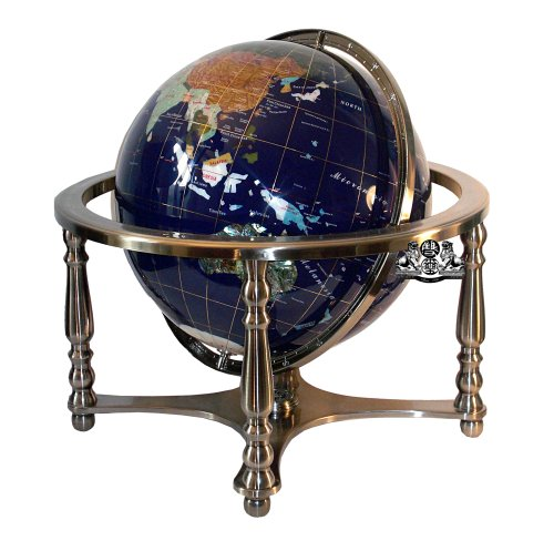 Unique Art 21-Inch Tall Blue Lapis Ocean Table Top Gemstone World Globe with 4 Leg Silver Stand Blue Lapis Globe
