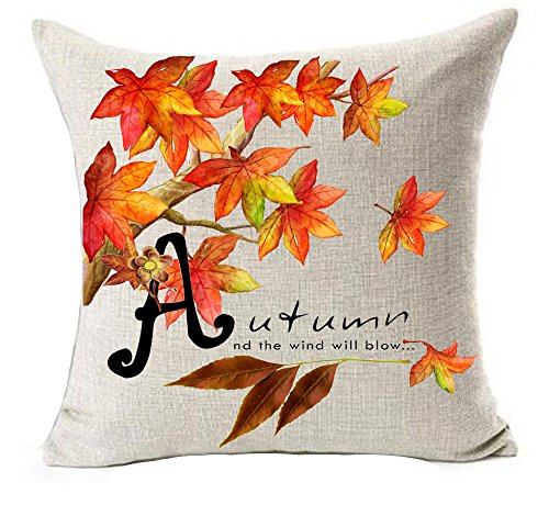 Bnitoam Maple Leaf Pumpkin Harvest Season Happy Fall Hello Autumn It's time for Love Cotton Linen Throw Pillow Covers Case Cushion Cover Sofa Decorative Square 18 x 18 inch (9) -