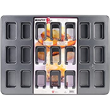 "Monster Bakeware 21 Cup Mini Loaf Pan, Metallic, 21"" x 15"""