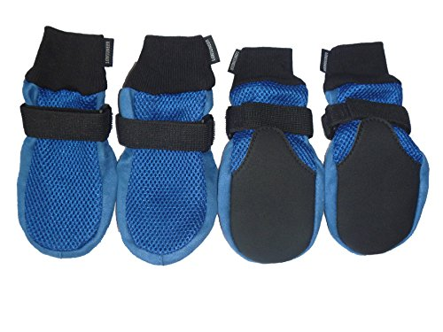 LONSUNEER Dog Boots Breathable and Protect Paws Soft Nonslip Soles Blue Color Size X-Large - Inner Sole Width 3.15 Inch by LONSUNEER