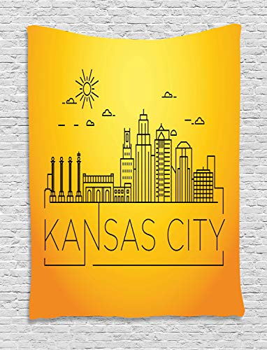 (Ambesonne Kansas City Tapestry, Minimal Kansas Missouri Linear City Skyline with Typographic Design, Wall Hanging for Bedroom Living Room Dorm, 60 W X 80 L Inches, Orange Yellow)