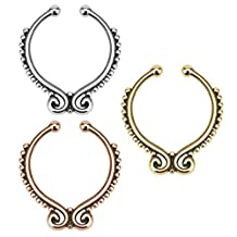 Richbest Hot Clip On Septum Fake Nose Hoop Non Piercing Nose Rings Stud Body Jewelry