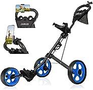 JANUS Golf Push Cart, Golf cart for Golf Clubs, Golf Pull cart for Golf Bag, Golf Push carts 3 Wheel Folding,
