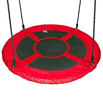 """Gaorui 100cm 40"""" Tree Swing Spinner Kids Swing Seat Saucer Nest Swing Round Ring Large Tire Swing + Free Two Tree Straps – 200 KG Weight Capacity, Fully Assembled, Easy to Install"""