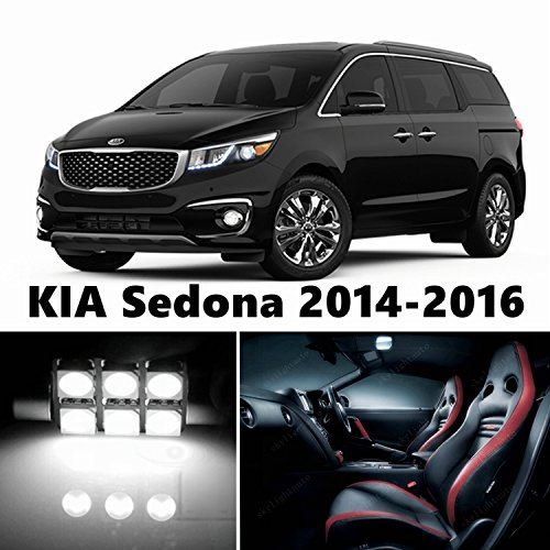 skylightauto 14pcs LED Premium Xenon White Light Interior Package Deal for KIA Sedona 2014-2017