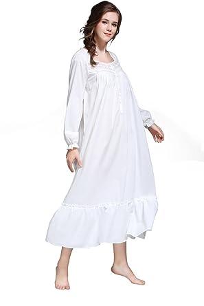 énorme réduction 6eafd e7e21 Dorekim Chemise de Nuit pour Femme, Robe de Nuit 100% Coton, Long, Manches  Longues, Confortable, Coloris Blanc, Taille S, DK7212