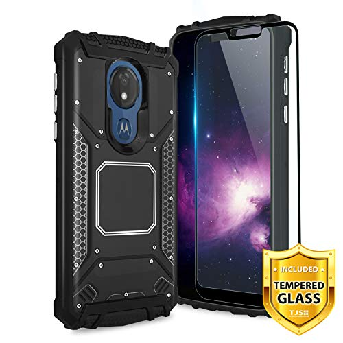 TJS Moto G7 Power Phone Case, with [Full Coverage Tempered Glass Screen Protector] Aluminum Metal Premium Shockproof Military Cover Built-in Metal Plate Back for Motorola Moto G7 Power ()
