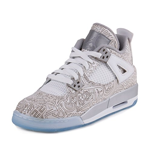 Nike Air Jordan 4 Retro Laser Bg, Zapatillas de Deporte para Niños White/Chrome-Metallic Silver