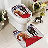 Analisahome 2 Piece Bathroom Mat Set traditional corrida bullfighting in spain bulfighting has been prohibited in catalunia Personalized Durable