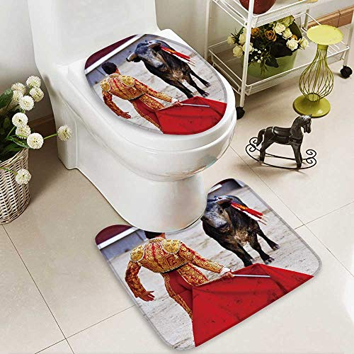 Analisahome 2 Piece Bathroom Mat Set traditional corrida bullfighting in spain bulfighting has been prohibited in catalunia Personalized Durable by Analisahome