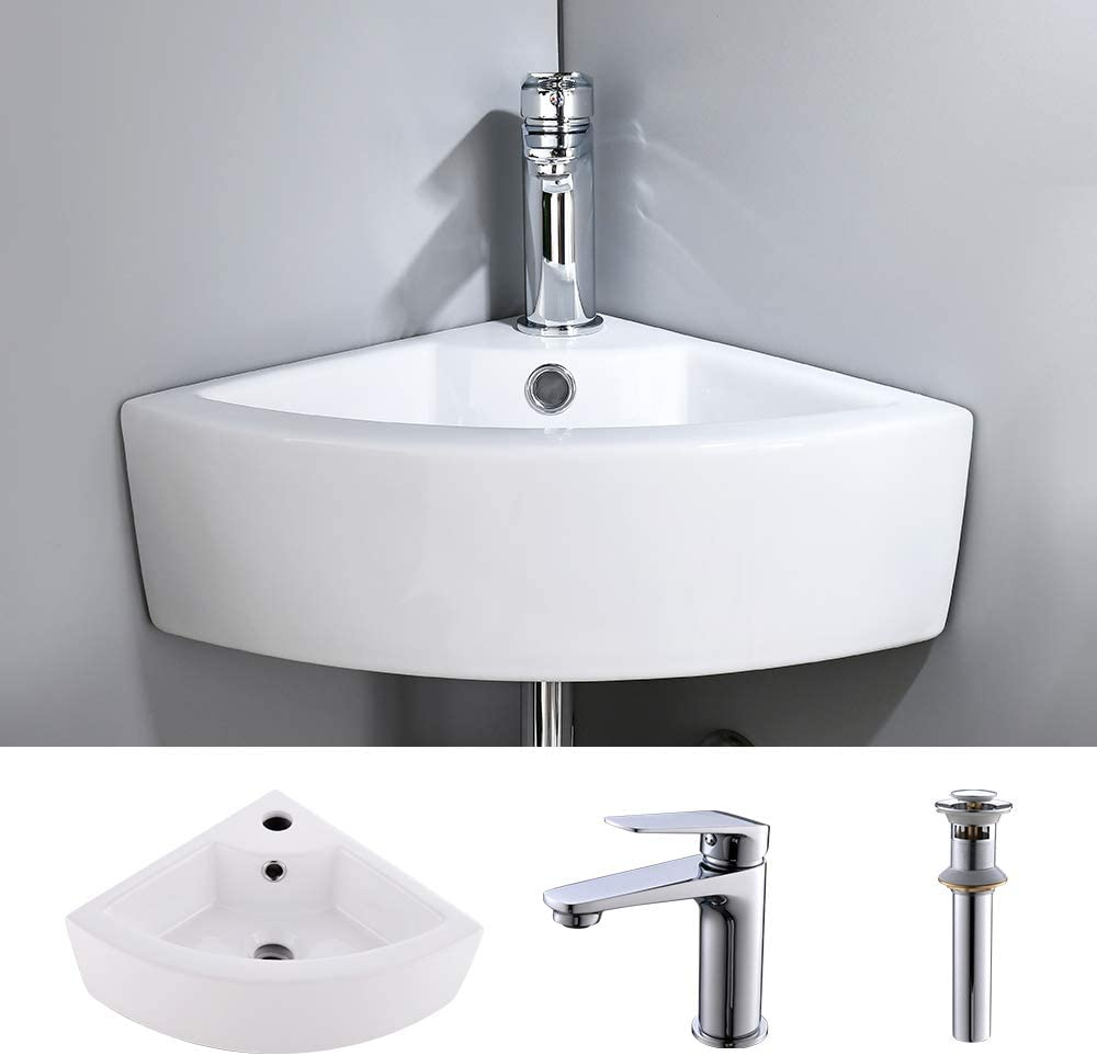 VOKIM Corner Wall Mount Vessel Sink White Vitreous China Above Counter Sink with Overflow Single Lever Faucet Matching Pop Up Drain Combo