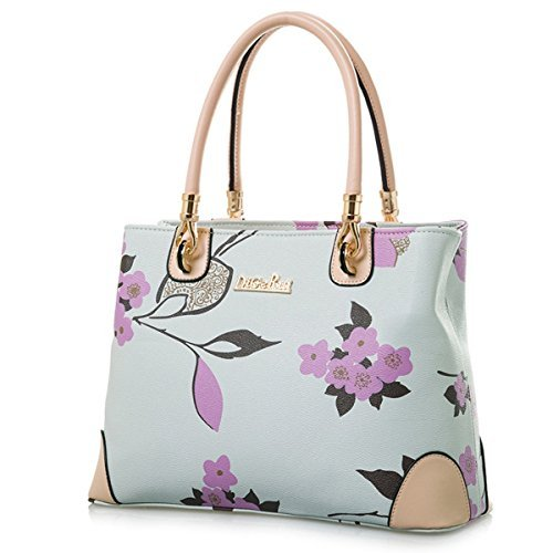 Womens Vintage Shoulder Bag All-over Flowers Pu Leather Tote Purse Cross Body Handbag -