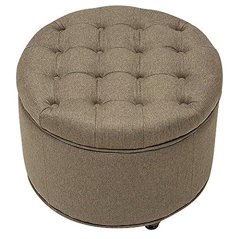 Large Round Button-Tufted Storage Ottoman