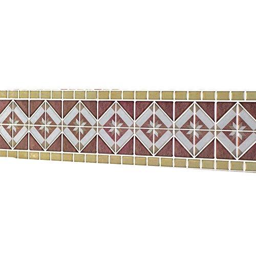 Collections Etc Diamond Tile Peel & Stick Backsplash Border Set - 8 Pack, Brown Multi