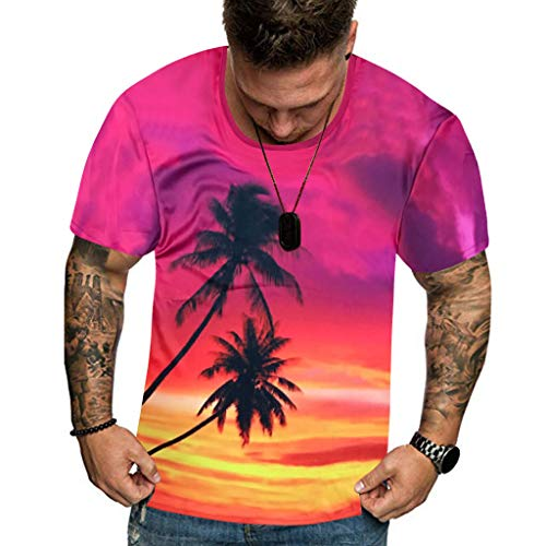 T Shirt Hawaiian Shirt Flower Leaf Beach Party Casual Holiday Short Sleeve Summer New Full 3D Printed Plus Size Cool Printing Top Blouse Men (XXL,2- Purple)