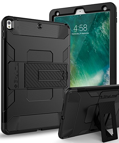 SKYLMW Case for iPad Air 3rd Generation 2019/iPad Pro 10.5 2017,Heavy Duty Three Layer Hybrid Shockproof Protective Cover with Kickstand for iPad Pro 10.5 2017 /iPad Air 3 2019 10.5 inch,New Black