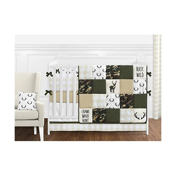 Sweet Jojo Designs Black and White Rustic Deer Accent Floor Rug or Bath Mat for Woodland Camo Collection