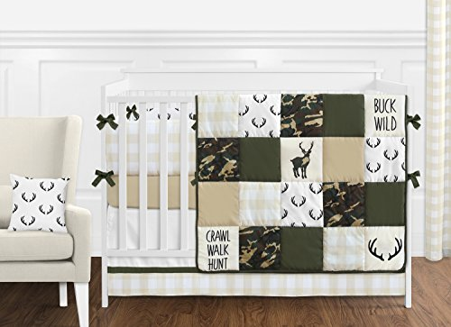 Sweet Jojo Designs Green and Beige Deer Buffalo Plaid Check Woodland Camo Baby Boy Crib Bedding Set with Bumper - 9 Pieces - Rustic Camouflage