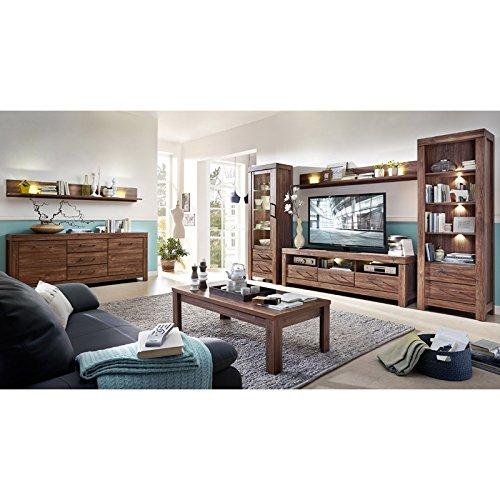 Wohnzimmer Set GANTO258 Akazie dunkel inkl. Sideboard & Couchtisch