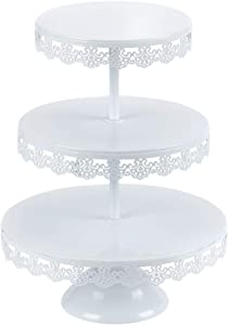 VILAVITA 3-tier Round Cupcake Stand Dessert Tower Iron Cupcake Holder Display Stand for Wedding Birthday Party Celebration, White