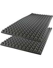 iFoam Acoustic Foam Sound Absorption Pyramid Studio Treatment Wall Panel, 50 cm X 50 cm X 7 cm - (8 Pack)