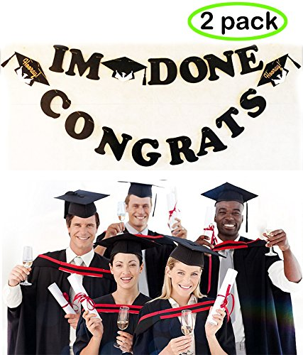 2 Sets Graduation Banner- I M Done/Congrats, 2018 Graduation Party Supplies, Grad Caps Decoration For Graduation Celebration (Surprise Birthday Party Invitation Wording)