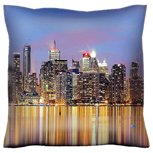 HFYZT Throw Pillow Case 18x18 Inch Closeup to Buildings in Downtown Toronto at Twilight Throw Pillow Cushion Cover]()