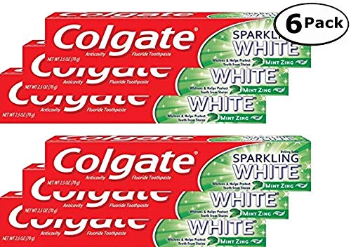 Colgate Anticavity, Mint Zing, Sparkling White Gel Toothpaste, 6 Pack - 2.5 Oz Ea (Total 15 Oz) ()