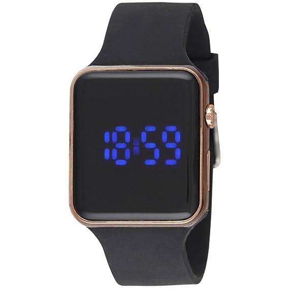 Ravel LED Reloj Digital para Hombre, Carcasa Dorada,Esfera Negra, Correa de Silicona Negra: Amazon.es: Relojes