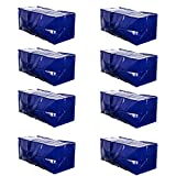 VENO Heavy Duty Extra Large Storage Bag Moving Tote Backpack Carrying Handles & Zipper - Compatible with IKEA Frakta Hand Carts Boxes Bin, Made of Recycled Material (8 Packs)